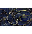 abstract golden wave lines pattern blue background vector image