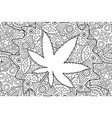 Adult coloring book page with cannabis leaf