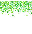 background with green confetti and clover leaves vector image vector image
