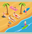 beach vacation people isometric composition vector image