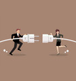 businessman and woman connecting hold plug and vector image vector image
