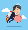 businessman flying jetpack with piggy vector image vector image