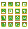 call center symbols icons set green vector image vector image