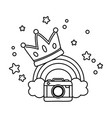 camera and crown with rainbow black and white vector image