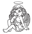 cartoon little angel outline vector image vector image