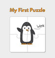 cartoon penguin puzzle template for children vector image vector image