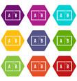 children abc icon set color hexahedron vector image