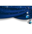 christmas background with blue curtains vector image vector image