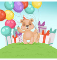 cute bear background funny teddy bear toy for vector image vector image