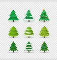 different christmas trees collection isolated on vector image vector image