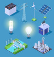 electric power isometric icons energy generator vector image