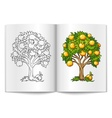 fruit tree drawn on the book vector image