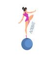 girl acrobat gymnast balancing standing on one leg vector image
