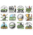 golf game sport equipment and trophy cup icons vector image vector image