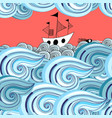 graphic pattern waves and ship vector image vector image