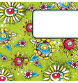 green grunge background with color flowers vector image