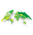 green political map of world bulging in a shape of vector image vector image