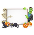halloween sign with skeleton and frankenstein vector image vector image