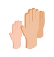 Hands raised up isometric 3d icon vector image