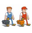 Handyman Carying Toolkit vector image vector image