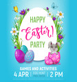 happy easter egg hunt kid party bunny in egg vector image vector image