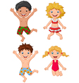 Happy kids wearing swimsuit jumping vector image