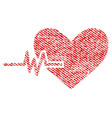heart pulse fabric textured icon vector image vector image