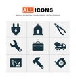 industry icons set with drawing with adaption vector image