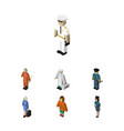 isometric people set of hostess seaman lady and vector image vector image