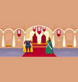 king and queen in court room in a palace vector image