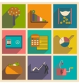 Modern collection flat icons with shadow economy vector image vector image