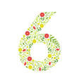 number 6 green floral made leaves vector image vector image