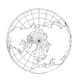 outline earth globe with map of world focused on vector image vector image
