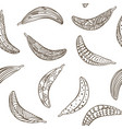 outline seamless banana with ornament pattern vector image vector image
