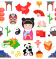 pattern with chinese symbols vector image