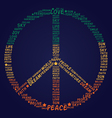 peace symbol made of words vector image
