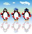 penguin summer three vector image