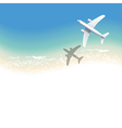 sea background with airplane vector image vector image