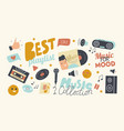 set icons best playlist for music collection theme vector image