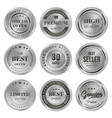 set of metal badges labels of quality product vector image vector image