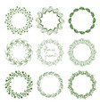 set of round floral frames vector image vector image