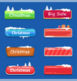 set of winter theme web push button covered snow vector image vector image