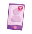 smartphone love message speech bubble isolated vector image vector image