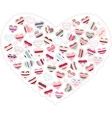 Stylized pink heart made of hearts isolated vector image vector image