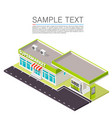 supermarket with petrol station on roadside vector image vector image