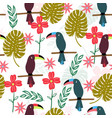 tropical seamless pattern with toucans vector image vector image