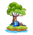 Two monsters near the tree house in the island vector image vector image