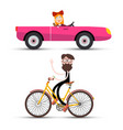 woman in pink cabriolet car and mak on bicycle vector image vector image