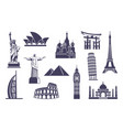 world sights icons architectural sights of vector image vector image