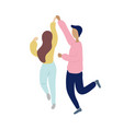 young dancing tiny stylish people vector image